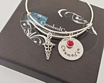 Medical ID Bracelet - Personalized Charm Bracelet - Bangle - Stacking - Custom - Silver Filled - Medical Alert - Adjustable - Charm Bracelet