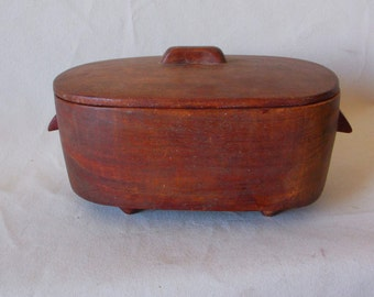 Vintage Hand Carved Wooden Dish With Lid
