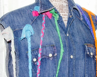 CLEARANCE Up-Cycled Denim Jacket Patched Large Denim Wash Alterated Jeans waistcoat Distressed jeans vest Denim Summer 2016 jeans