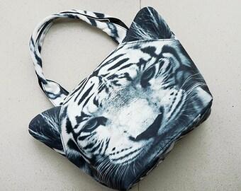 White Tiger, mini tote bag, tiger bag, animal bag, MT043