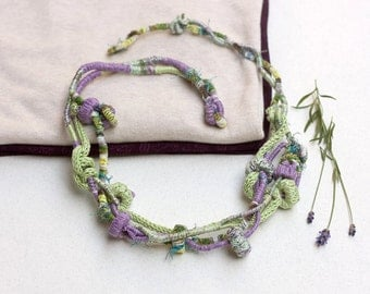 Fiber statement necklace in purple and green Hand wrapped and knitted jewelry with bamboo beads, OOAK