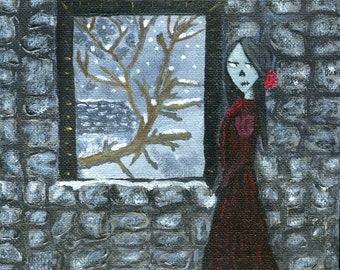 ORIGINAL ART: STONE Small skull painting, 6x6 inches acrylic on canvas  // stone wall, winter, snow falling outside window, maroon dress