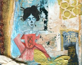 ORIGINAL ART: GEISHA Small skull painting, 6x6 inches acrylic on canvas  // Geisha, gold, blue, tangerine, butterfly // texture, dragonfly