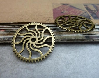30pcs 24mm antique bronze gear charms pendant C7547