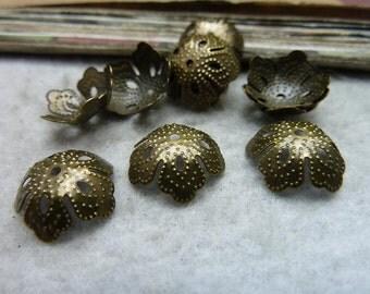 100pcs 4*13mm antique bronze bead cap charms pendant C7633