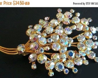"Flower Brooch Pin Aurora Borealis Blue Pink Rhinestone Bouquet Gold Metal Wire BIG 3 1/4"" Vintage"
