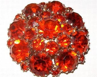 "Weiss Fall Brooch Red Orange Rhinestones Gold Metal Domed Circle 1.75"" Vintage"