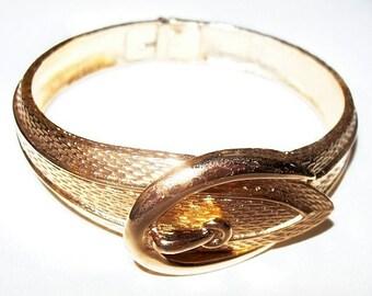 "Belt Buckle Cuff Bracelet Gold Stamped Decorated Metal Hinged 1"" W Vintage"