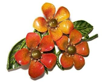 """Flower Brooch Pin Orange Green Enamel & Peridot Cab Rhinestones Base Metal 3"""" Vintage"""