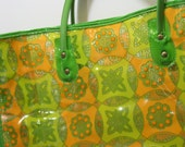 Vintage Flower Power LARGE Clear Plastic Vinyl Tote Bag for Grocery Market Beach or Bridesmaids Gifts Retro Hipster Orange Yellow Green