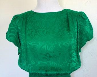 Vintage Emerald Green Silk Secretarys Blouse