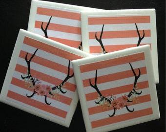 Rustic Antler Deer Flowers Set of Drink Coasters, Cabin, Home Decor, Housewarming, Wedding Bridal Gift