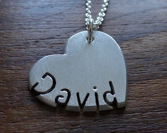 Silver Personalised Heart and Name Pendant Necklace 2