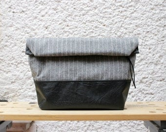 Toiletry bag, roll-up men bag,shaving bag, groomsmens gift,2 ways pouch,Oxford grey wool and faux black leather.Mens.Husband gift. Dad gift.