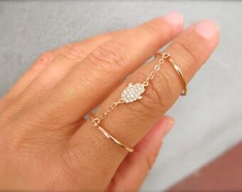 CZ hamsa hand double ring - cz tiny hamsa hand - adjustable double ring  - chain double ring - silver - gold - rose gold double ring