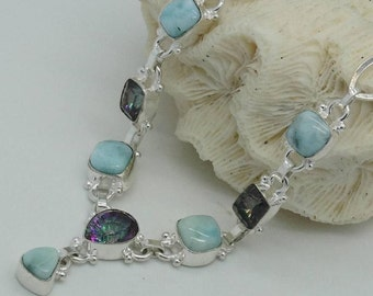 Handcrafted, Gemstone CARRIBEAN LARIMAR Multi Rainbow Topaz 925 Streling Silver