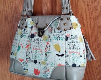 Beautiful Expandable Handbag, Beige and Corals, Religious print fabric, Harriet Pattern