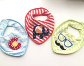Colorado boys bib set elephant hipster unique appliqué baby shower