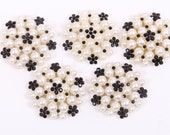 Metal Rhinestone Buttons - Pearl Cluster Button - 26mm SET OF FIVE - black