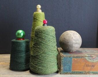 3 Vintage Wool Skeins Green Wool // Vintage Industrial Skiens