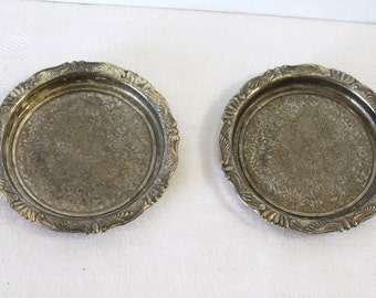 Pair of Silverplate Coasters 3.75 Inch Diameter Vintage