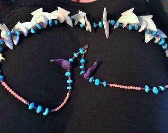 ZUNI FETISH NECKLACE Amethyst Turquoise Coral Pearl c1970