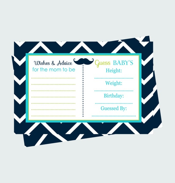 Advice Statistics Shower Game Printable -- Mustache Baby Shower Prediction Game Card -- Advice for Mom Activity  Instant Download, Printable