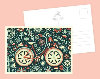 Floral Bicycle Postcard or Postcard Set - Inspired by Lithuania Series