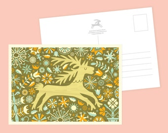 Floral Deer Postcard or Postcard Set - Inspired by Lithuania Series