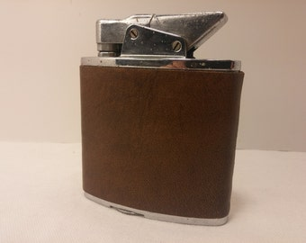 Vintage THE GIANT oversized table lighter by Galter Products, rehabbed with new flint, leather wrap - stunning smoking accessory, 420, Cigar