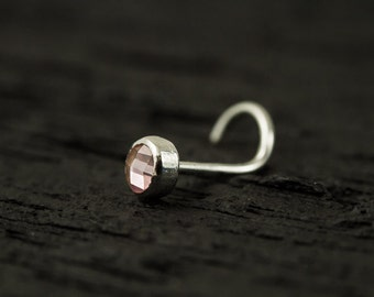 Pink CZ facetted 3mm bazel setting nose stud / nose screw / nose ring