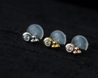 Cubic Zirconia bazel set with trinity balls push in 16gauge bio flexible Tragus / lip labret / cartilage/ helix / Monroe