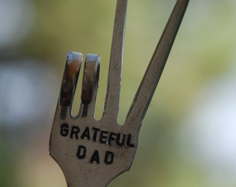 GRATEFUL DAD hand stamped PEACE Sign Fork Garden Marker recycled art