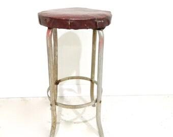 Vintage Metal Bar Stool Red Vinyl Seat MidCentury Modern Industrial