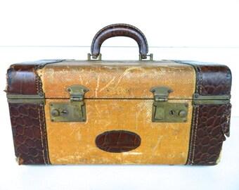 Vintage Train Case Brown Tan Leather Trim Photo Prop