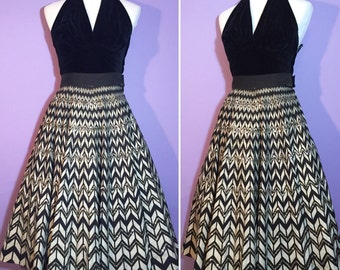 SEQUINS 1950's Zig Zag Mexican Skirt Black and White by Londy of Mexico VLV Pin Up