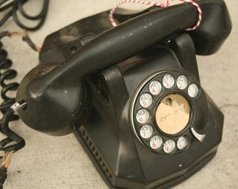 Antique 1930's Telephone By American Electric Co. Inc. Chicago, Monophone, Good Condition, Home Decor, Bakelite Phone