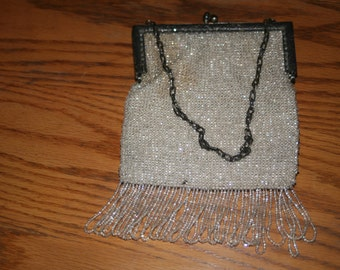 Vintage Beaded 1920s Purse, Flapper Purse, Vintage Purse, Art Deco, White Purse, Beaded Purse, Dress Up