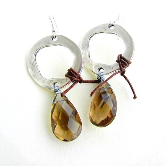 Teardrop Crystal Earrings, Long Dangle Earrings, Boho Jewelry, Brown Earrings, Free Shipping, Gift for her