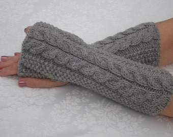 Fingerless Gloves.Knit Mittens.Gray.Cabled Wool Wrist Warmers.Long.Gray.Winter Fingerless gloves.Soft.