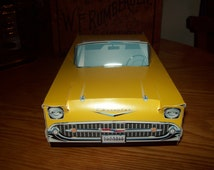 Retro  Vintage Classic Yellow 57 Chevy  Food Box Car box,Popcorn Box Kids Brithday Party Set of 5