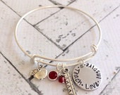 Ships Same Day Sale School Teacher Gift, Handstamped Teacher Appreciation Christmas Gift Teach Love Inspire Expandable Bracelet