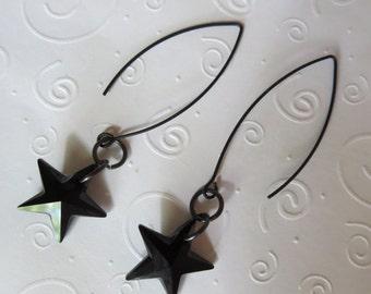 Black Star Crystal Earrings with Long Black Earwires