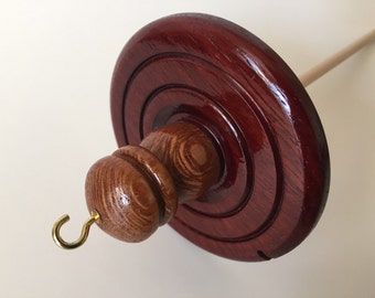 Handmade High Whorl Bloodwood and Lace Wood Drop Spindle. 2.9 oz.