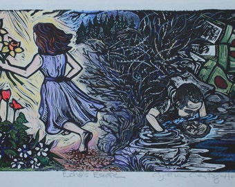 Echo and Narcissus Hand Colored Linoleum Block Print