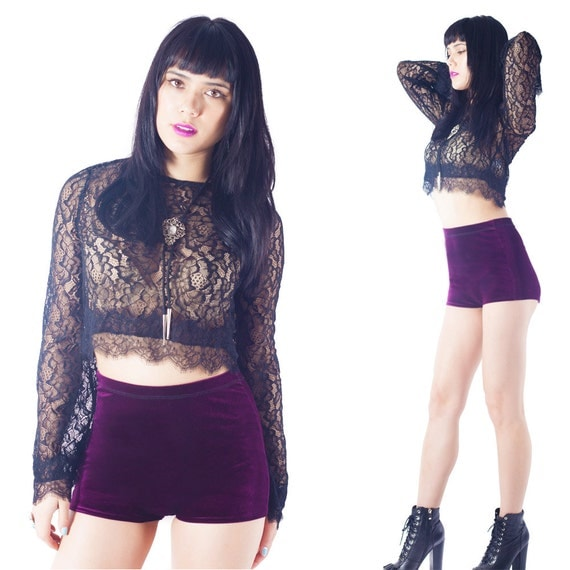 high Waisted shorts Velvet Booty Shorts Pin Up Cheeky shorts // XS S M L