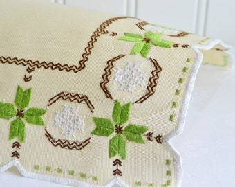 "Small embroidered tablecloth, vintage Swedish beige, 13 "" doily , green and white home decor"