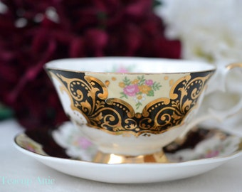 Elizabethan Black RARE Wide Teacup and Saucer BALMORAL, English Bone China Tea Cup Set, Wedding Gift, ca 1960
