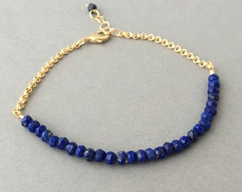 Blue Lapis Gemstone Beaded Gold Bracelet also available in Silver