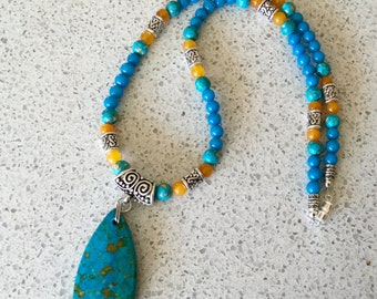 Southwestern Style Mosaic Turquoise Pendant Necklace